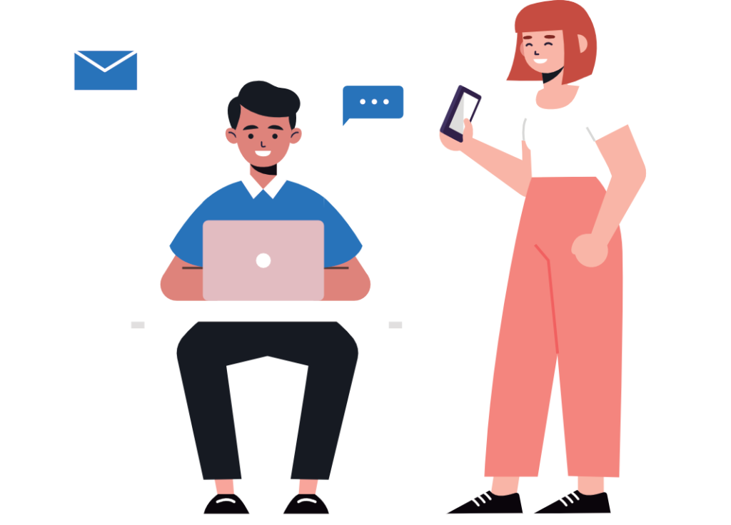 Auf dem Bild sieht man zwei glückliche Menschen. Sie benutzen einen Laptop und ein Smartphone.